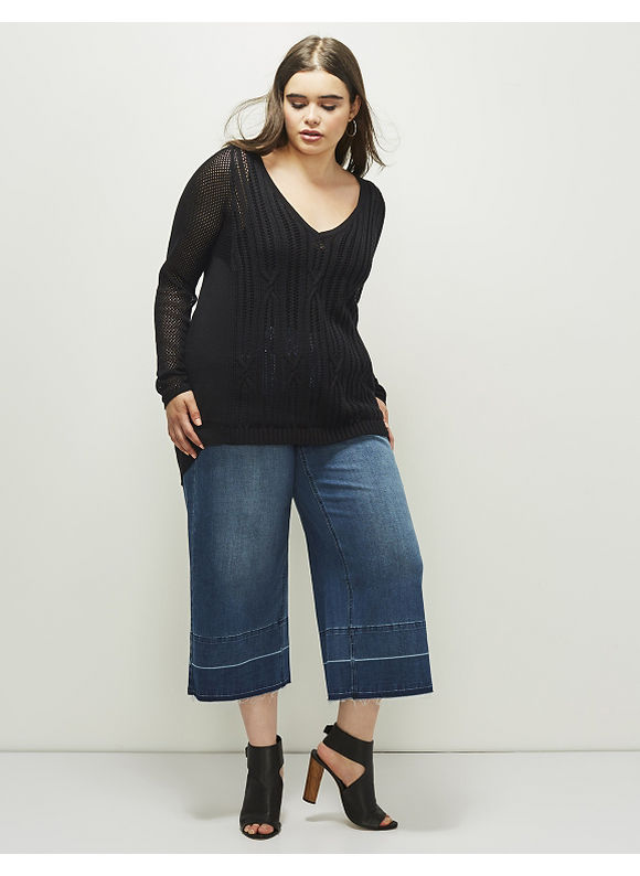 Lane Bryant Plus Size 6th & Lane Pointelle Cable-Knit Sweater, Women's, Size: 12, Black