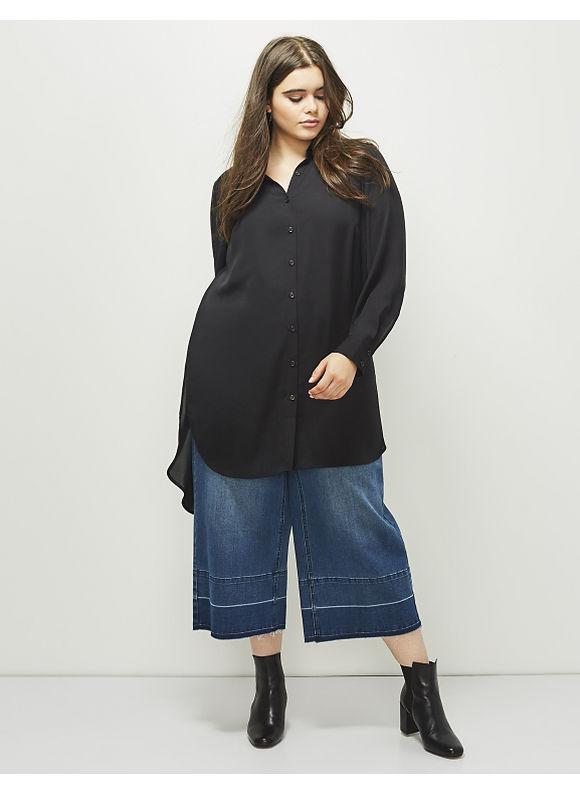 Lane Bryant Plus Size 6th & Lane Button-Down Tunic,  Women' Size: 12,  Black plus size,  plus size fashion plus size appare