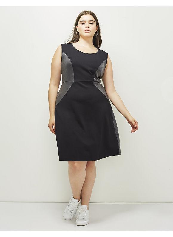 Lane Bryant Plus Size 6th & Lane Spliced Ponte Dress, Women's, Size: 16, Black
