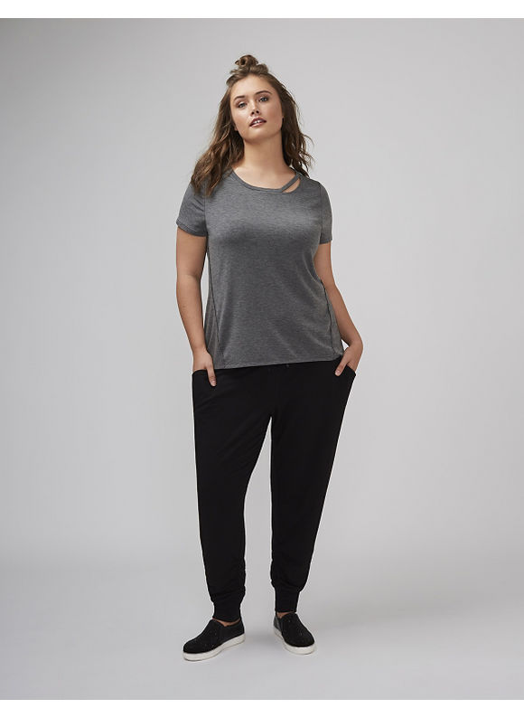 Lane Bryant Plus Size Tee with Cutout Neckline,  Women' Size: 22/24,  Gray plus size,  plus size fashion plus size appare
