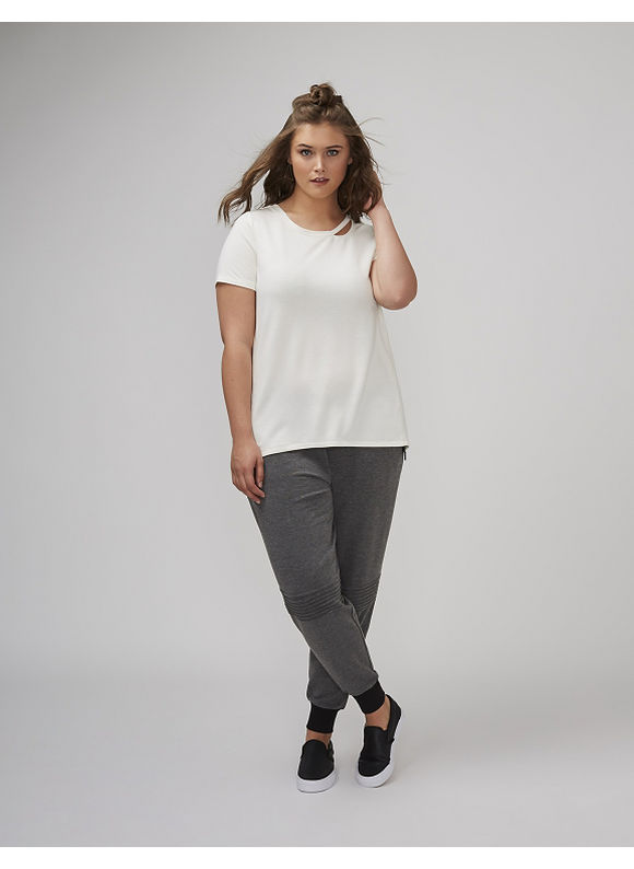 Lane Bryant Plus Size Tee with Cutout Neckline,  Women' Size: 18/20,  White plus size,  plus size fashion plus size appare