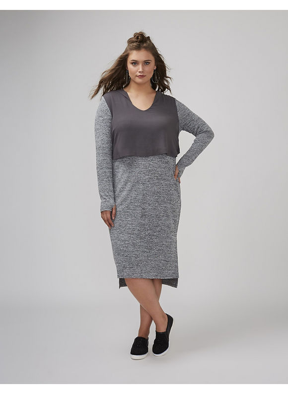 Lane Bryant Plus Size Hoodie Dress with Chiffon,  Women' Size: 26,  Gray plus size,  plus size fashion plus size appare