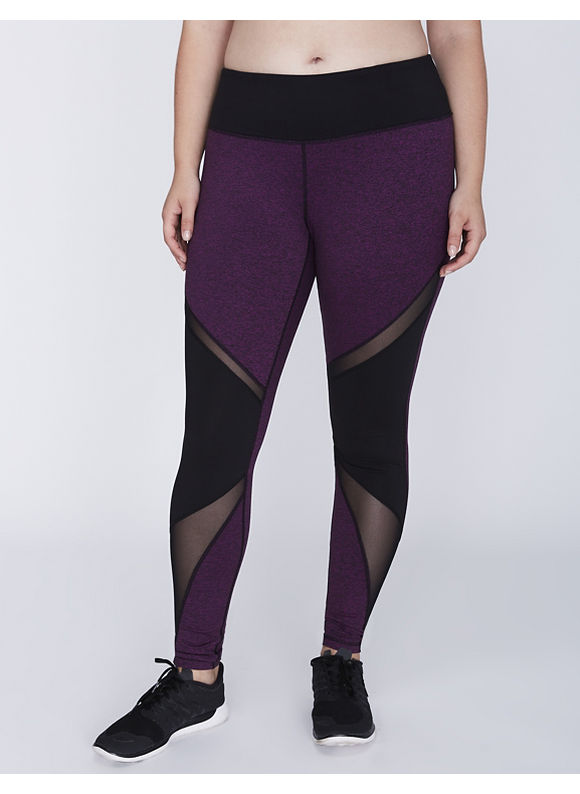 Livi Active Plus Size Wicking Marled Colorblock Active Legging with Mesh,  Women' Size: 22/24,  Grape Juice plus size,  plus size fashion plus size appare