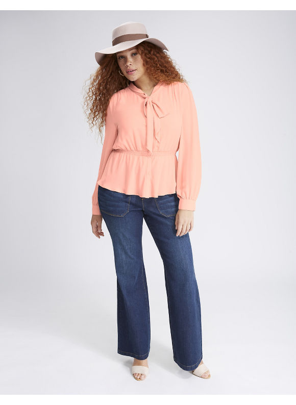 Lane Bryant Plus Size Peplum Tie Blouse,  Women' Size: 26,  Pink plus size,  plus size fashion plus size appare