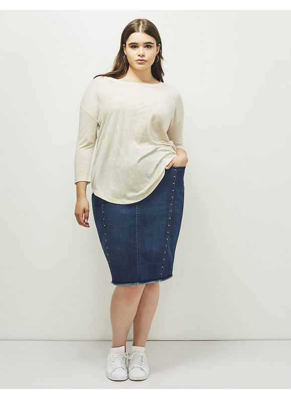 6th & Lane Plus Size Studded Denim Skirt,  Women' Size: 12,  Denim Blue plus size,  plus size fashion plus size appare