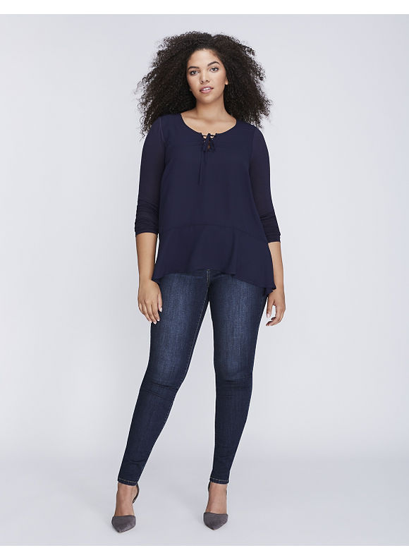 Lane Bryant Plus Size Lace-Up Mixed Fabric Blouse,  Women' Size: 22/24,  Navy Blue plus size,  plus size fashion plus size appare