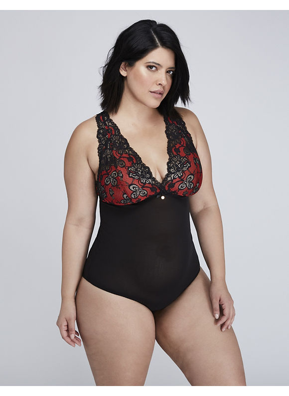 Cacique Lace Deep V Bodysuit