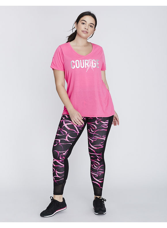 Livi Active Plus Size Ruched-Sleeve Courage Graphic Active Tee,  Women' Size: 14/16,  Bold Pink plus size,  plus size fashion plus size appare