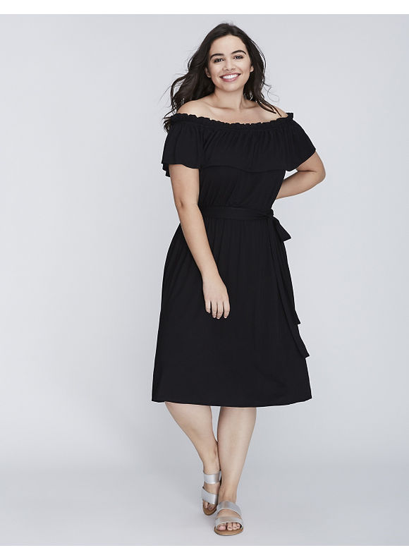 Lane Bryant, available in Plus Size. The off-the-shoulder trend in a soft, super-wearable fabric. Elastic neckline and waist. Matching, self-tie belt. No-closure, pullover styling. Size: 22/24. Color: Black. Gender: Female. Age Group: Adult.