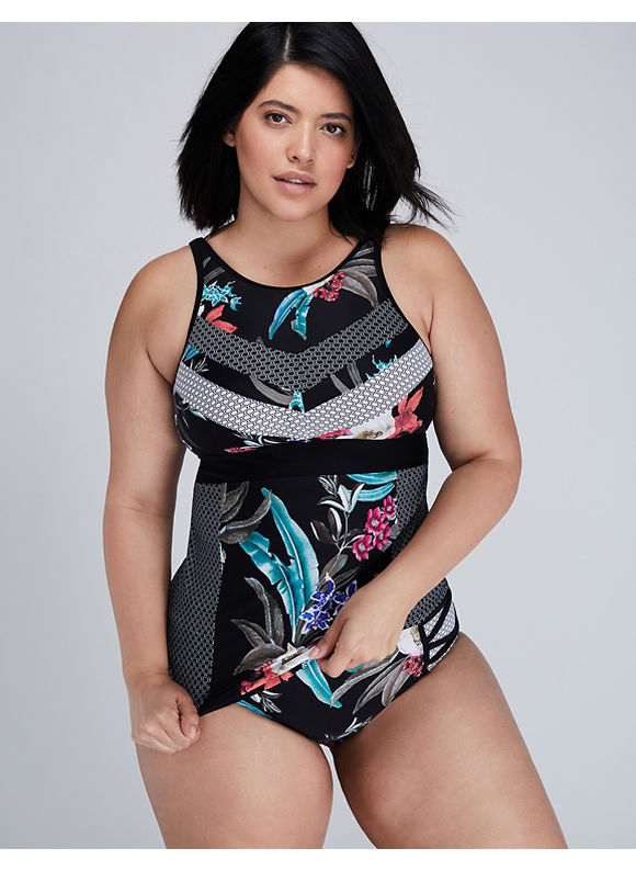 Cacique Plus Size Mixed-Print Swim Tank with Built-in Bra