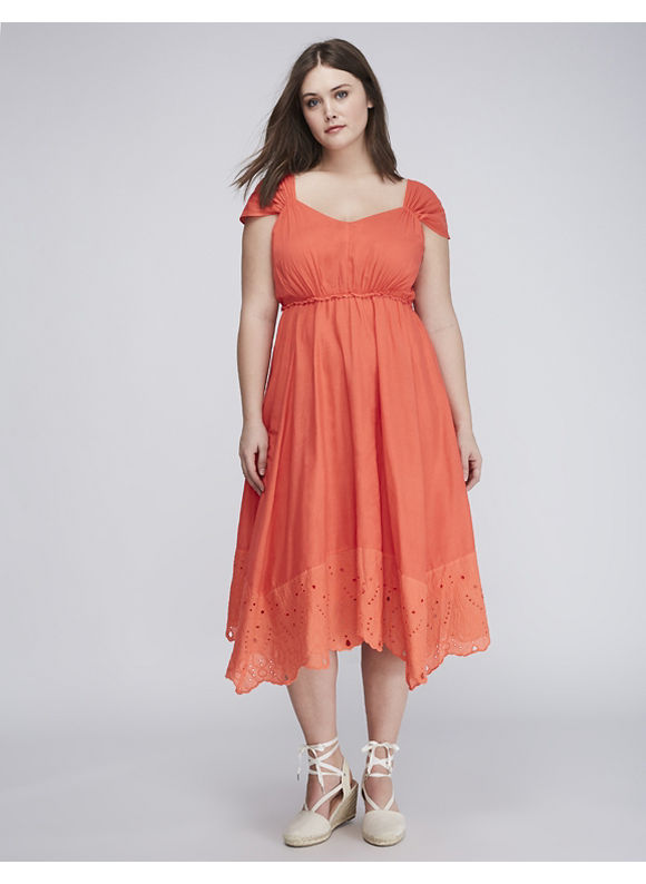 Buy Boardwalk Empire Inspired Dresses Lane Bryant Plus Size Eyelet-Hem Midi Dress Womens Size 14 Hot Coral $79.95 AT vintagedancer.com