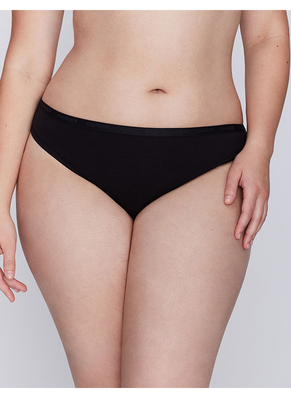Cacique Plus Size Sassy cotton thong panty,  Women' Size: 14/16,  Black plus size,  plus size fashion plus size appare