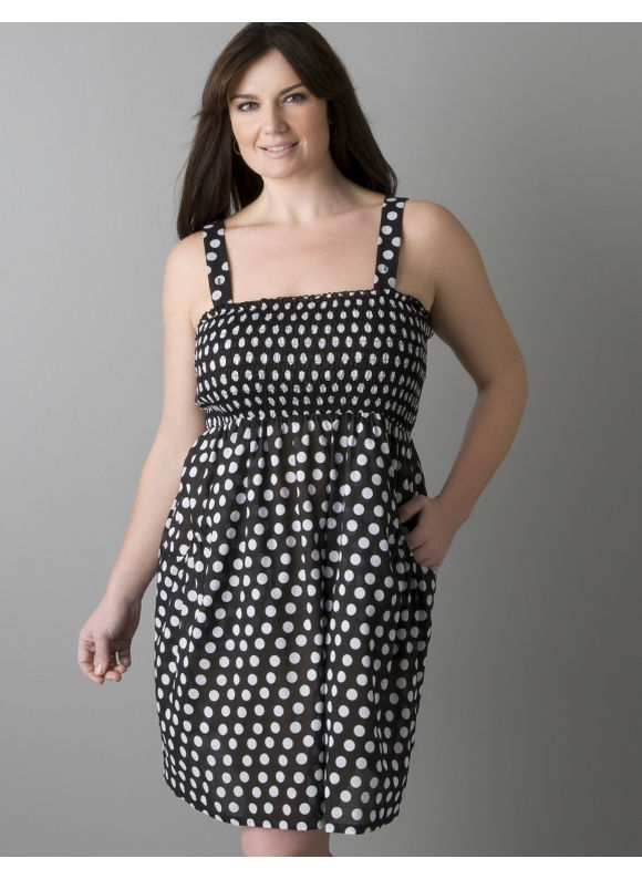 Pasazz.net Favorite -  Lane Bryant Polka dot smocked swim cover up - Women's Plus Size/Black