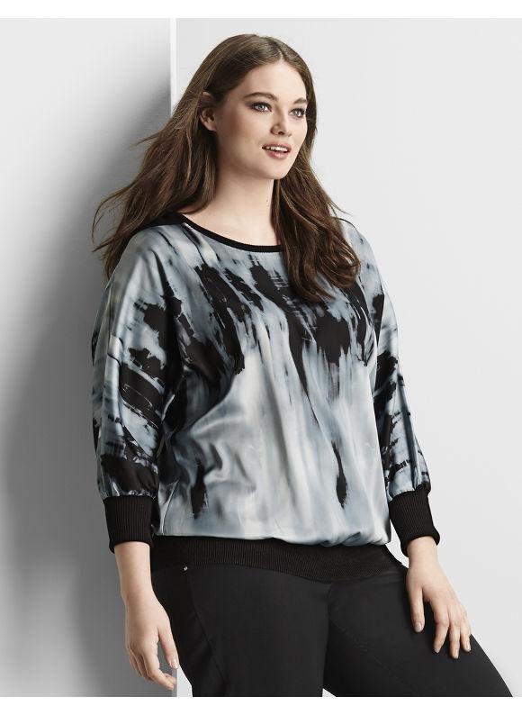 Lane Bryant Plus Size 6th & Lane mixed fabric dolman sweater Size 12,14/16, black - Lane Bryant ~ Trendy Plus Size Clothes