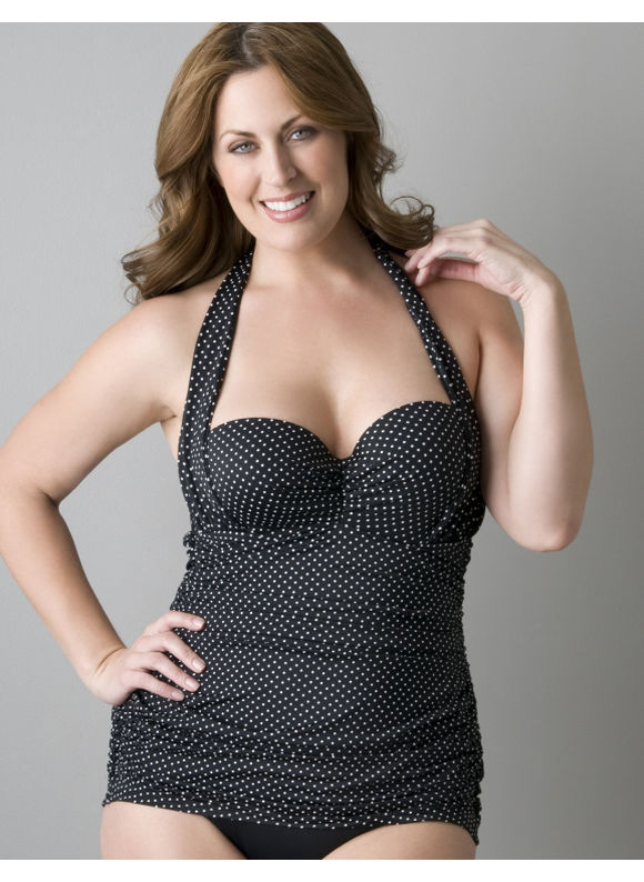 Retro shirred swimsuit - Women's Plus Size/Black/White - Size 20