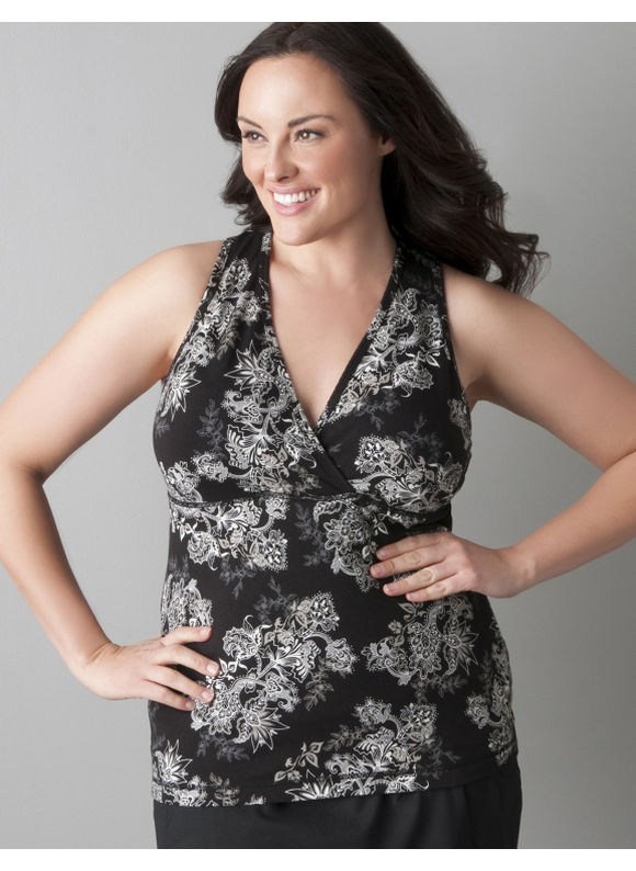 Lane Bryant Plus Size Surplice active tank top by Marika Miracles - Black