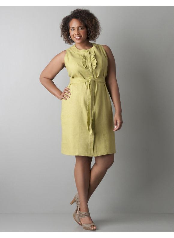 Sleeveless ruffled linen dress - Women's Plus Size/Vibrant Green - Size 28