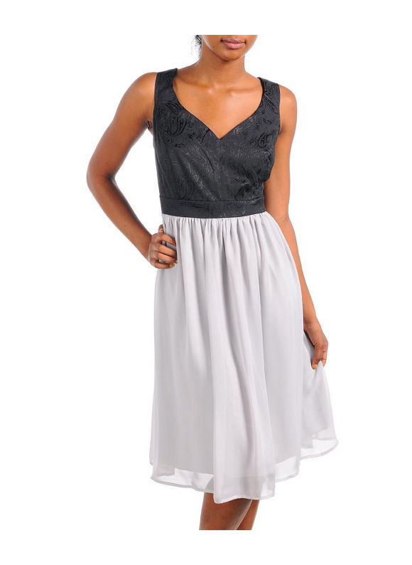 Black And Gray Poof Dress by alight