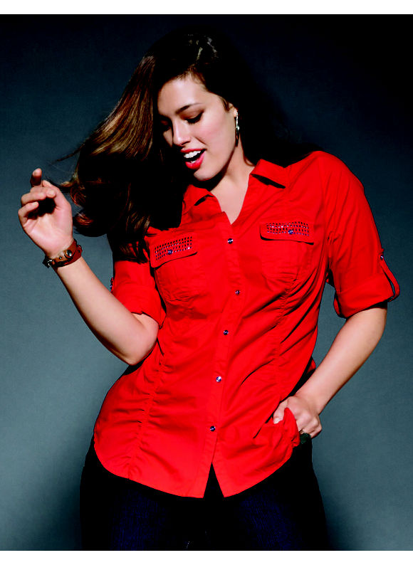 Lane Bryant Plus Size The Sexy Shirt in Flame Scarlet