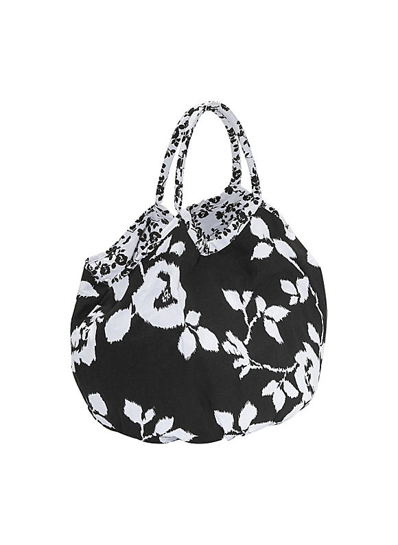 Reversible Cotton-Canvas Bi-Color Floral Bucket Tote by Echo