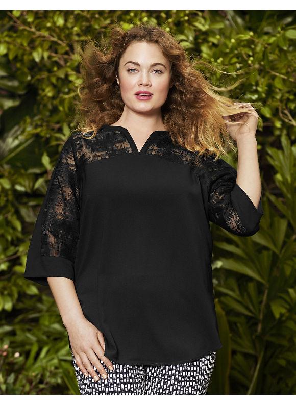 Lane Bryant Plus Size Crosshatch tunic by Lela Rose Size 12,14, black - Lane Bryant ~ Trendy Plus Size Clothes