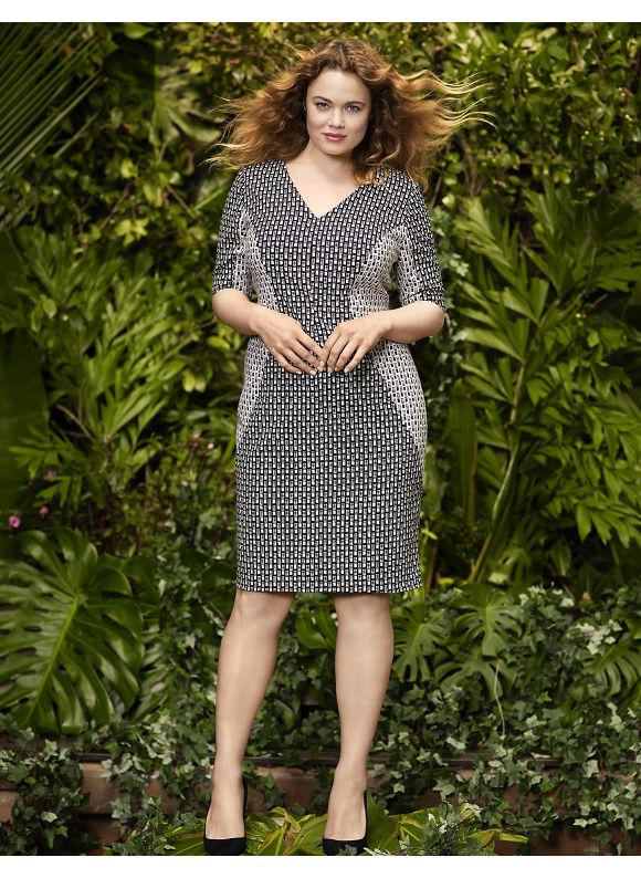 Plus Size Print block sheath dress by Lela Rose Lane Bryant Women's Size 12, black - Lane Bryant ~ Trendy Plus Size Clothes