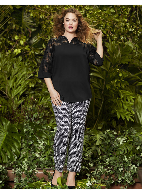 Lane Bryant Plus Size Dot dash slim pant by Lela Rose Size 12,14,16,20,22,24, black