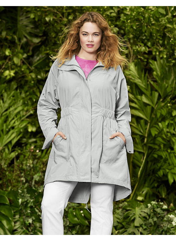 Lane Bryant Plus Size Raglan trench by Lela Rose, Light gray