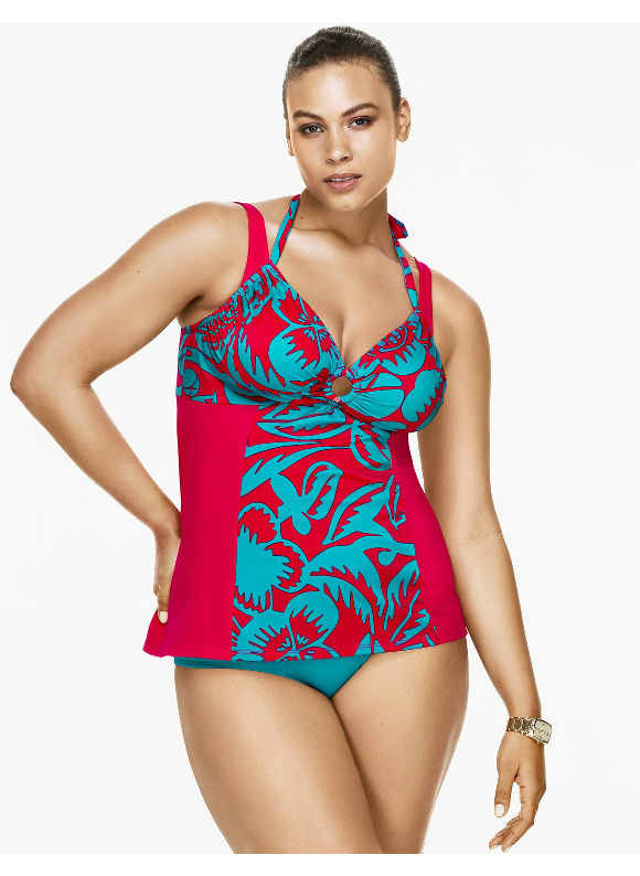 Lane Bryant Plus Size Double strap tankini top by Sophie Theallet Size 42DDD, floral print - Lane Bryant ~ Trendy Plus Size Clothes