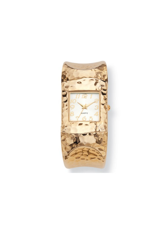 Hammered-style Cuff Watch 7 3/4 by PalmBeach Jewelry