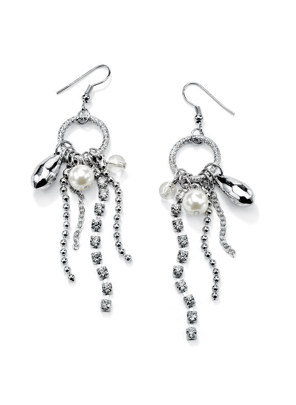 Multi-Chain Drop Pierced Earrings by PalmBeach Jewelry