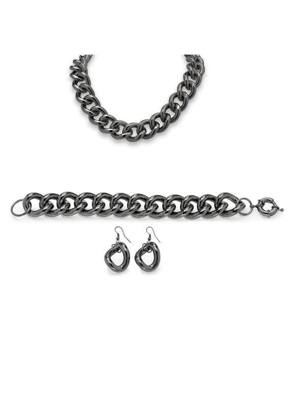 3-Piece Curb-Link Chain Set by PalmBeach Jewelry