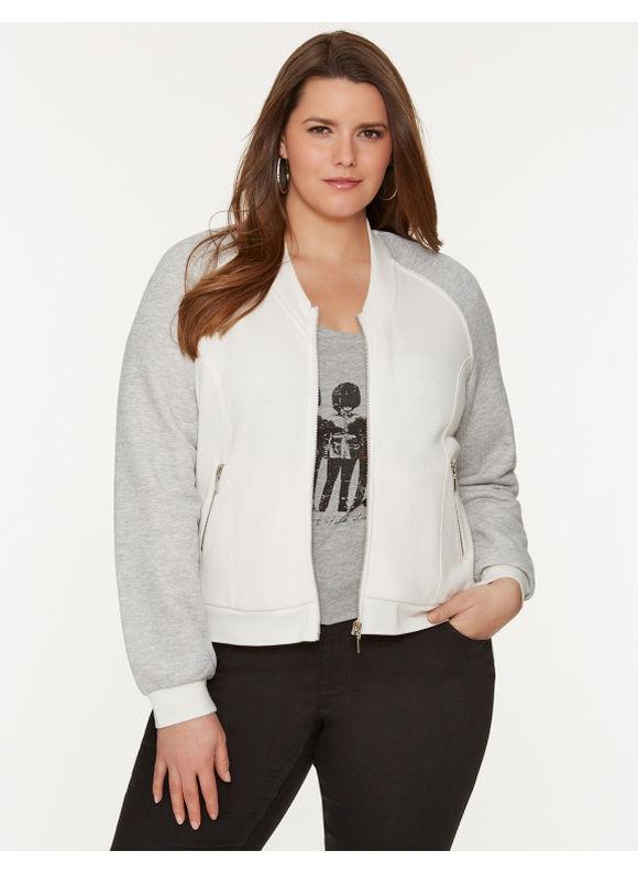 Lane Bryant Plus Size Knit baseball jacket - Heather Oatmeal