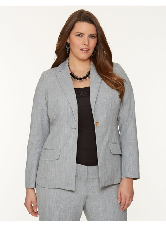 Lane Bryant Plus Size Tie back suit jacket - - Women's Size 14,16,18,20,22,24, Heather charcoal