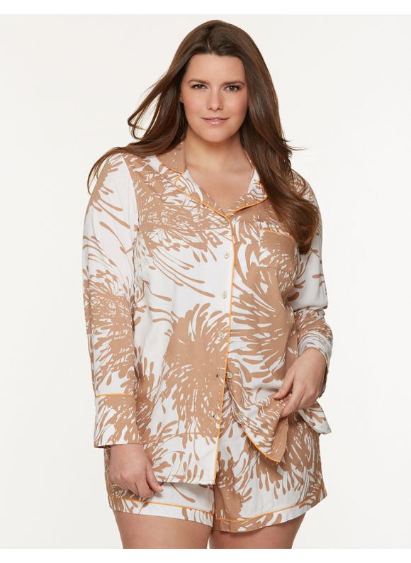 Lane Bryant Plus Size Tru to You palm print PJ set - Palm Print