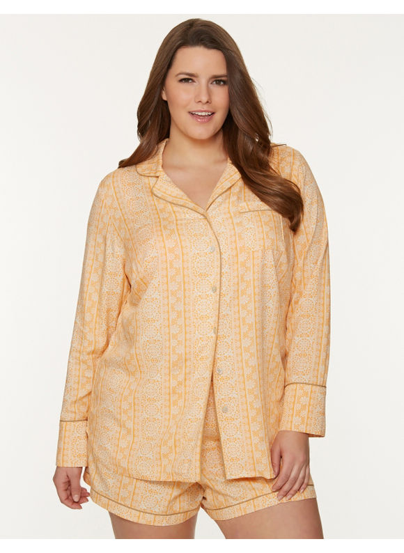 Lane Bryant Plus Size Tru to You lace print PJ set -  Mimosa