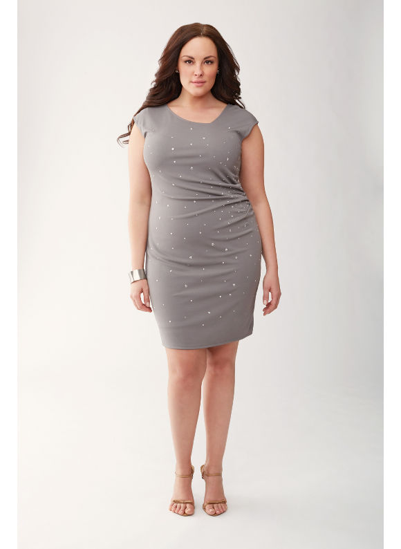 83aea8d60bc Lane Bryant Plus Size Lane Collection embellished pleated dress Womens