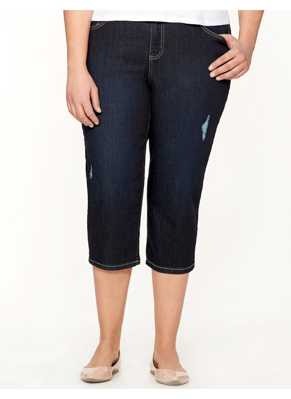Lane Bryant Plus Size Capri with Tighter Tummy Technology - Dark Wash