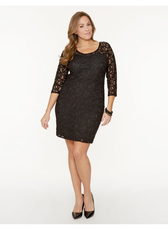Lane Bryant Plus Size Lace illusion dress - Black