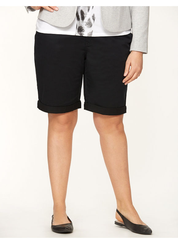 Lane Bryant Plus Size Weekend chino short - Black