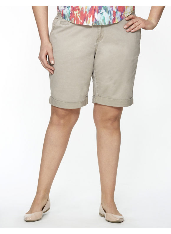Lane Bryant Plus Size Weekend chino short -  Fresh Khaki