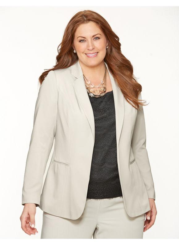 Lane Bryant Plus Size Crepe boyfriend jacket Size 14/16, silver - Lane Bryant ~ Trendy Plus Size Clothes