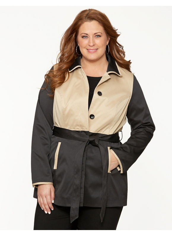 Lane Bryant Plus Size Colorblock trench coat - Black