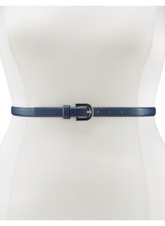 Lane Bryant Plus Size Enamel buckle skinny belt - Dark Water