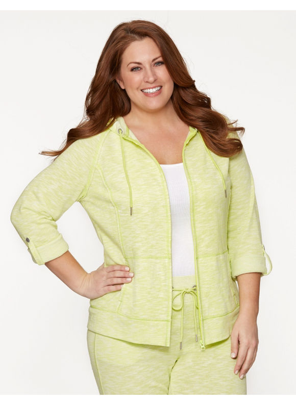 Lane Bryant Plus Size Hoodie with convertible sleeves - Bold Lime