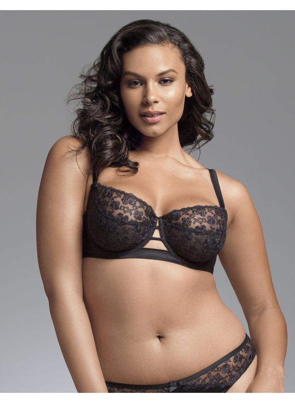 Plus Size Embroidered lace balconette bra by Sophie Theallet