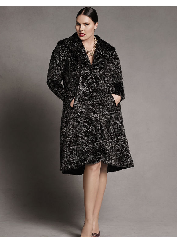 Faux fur swing coat by Isabel Toledo Plus Size/Black & silver by Lane Bryant