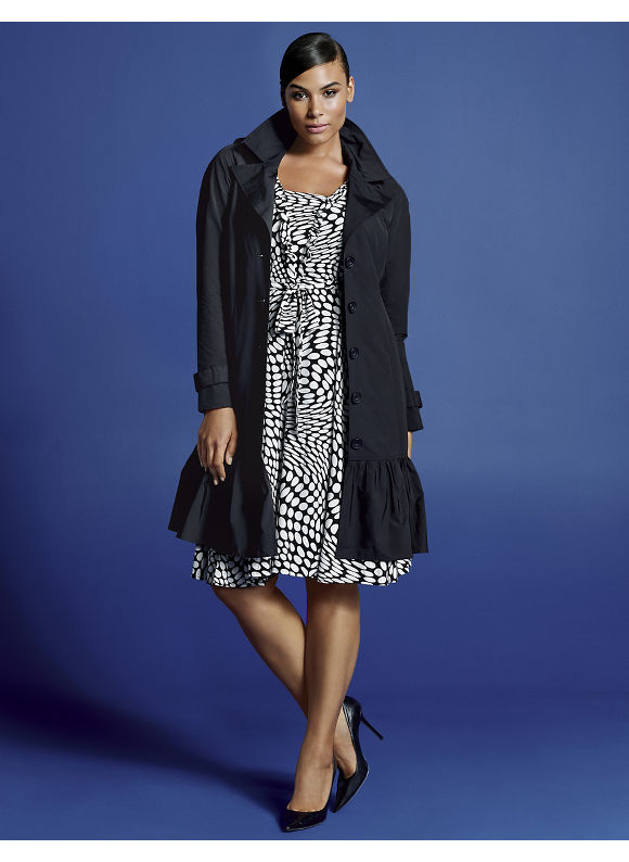 Plus Size Ruffle hem trench coat by Isabel Toledo - Black view all by Lane Bryant