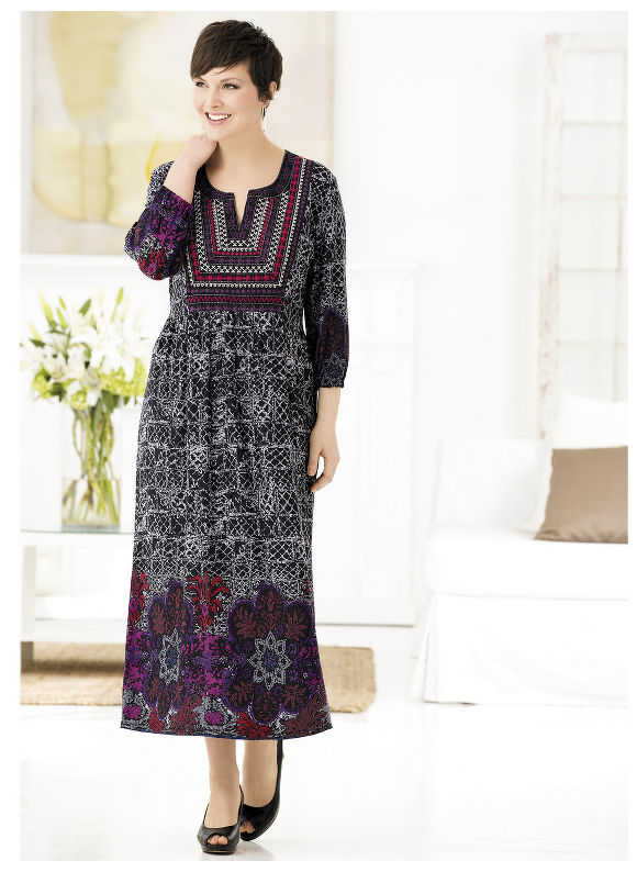 Joyful Geometrics Border Print Knit Dress by Ulla Popken