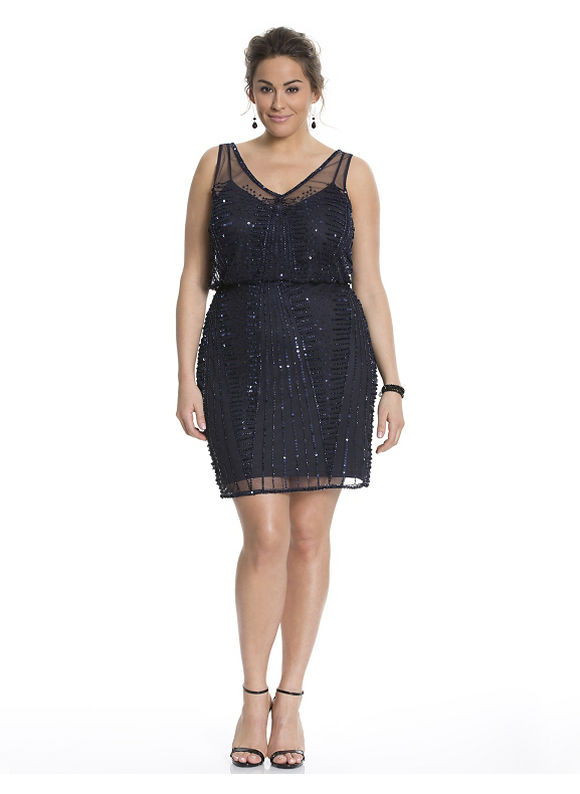 Plus Size Beaded blouson dress by Adrianna Papell Lane Bryant Women's Size 14, blue - Lane Bryant ~ Trendy Plus Size Clothes